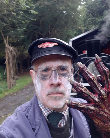 Audley End Miniature Railway driver Terry Hartga ready for Halloween! Picture: Terry Hartga
