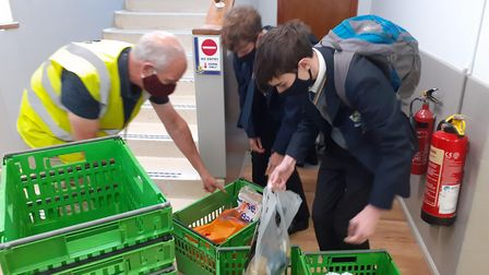 Verulam School students safely collected donations for FEED Food Bank, helping those in need. Picture: Verulam School