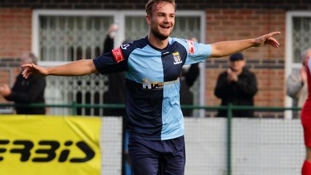Ben Worman got both St Neots Town goals in the draw at North Leigh. Picture: DAVID RICHARDSON/RICH IN VIDEO