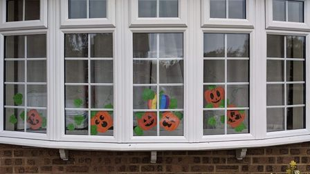 Houses across St Albans are getting in the Halloween spirit by putting rainbow pumpkins in their windows. Picture: The...