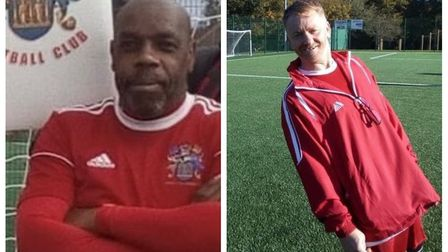 Will Barrett (left) scored twice and was named man of the day for the Wisbech Town walking football team in their narrow...