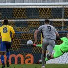 Rihards Matrevics makes a crucial penalty save for St Albans City against Chippenham Town in the National League South at...
