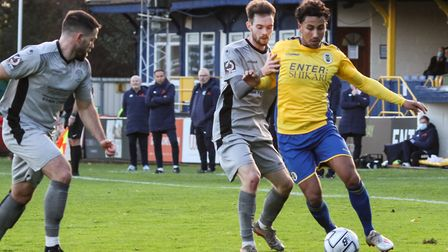 Zane Banton in action for St Albans City against Chippenham Town in the National League South at Clarence Park. Picture...