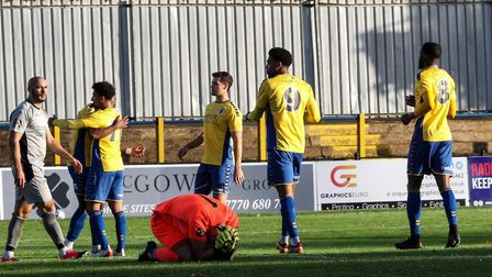 St Albans City celebrate against Chippenham Town in the National League South at Clarence Park. Picture: JIM STANDEN