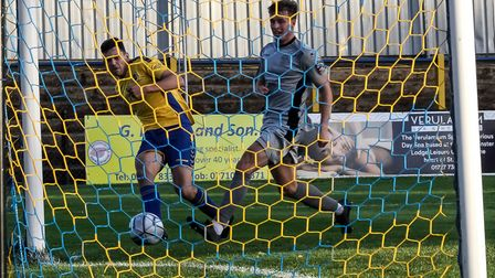 Mitchell Weiss in action for St Albans City against Chippenham Town in the National League South at Clarence Park.