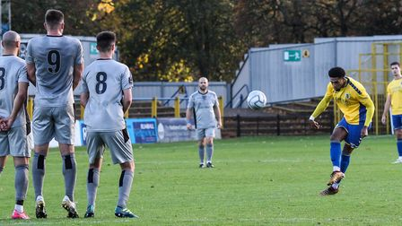 Shaun Jeffers in action for St Albans City against Chippenham Town in the National League South at Clarence Park. Picture:...