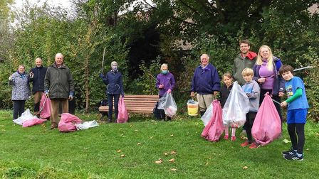 The Butts Close team pose with their haul for Hitchin Forum's Big Autumn Clean-Up. Picture: Bill Sellicks