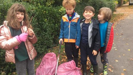 A young group collected litter at Ransom's Rec, Hitchin. Picture: Bill Sellicks
