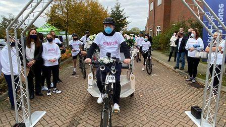 Heidi's partner Simon set off on the cycle ride to raise money for Garden House Hospice Care. Picture: Beth Power