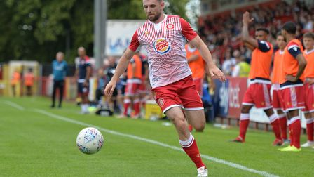 Danny Newton was a threat for Stevenage in the first half against Newport County. Picture: DANNY LOO