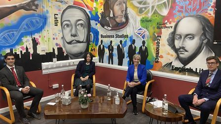 St Albans MP Daisy Cooper takes part in a live Q&A at St Columba's College on the UK's education system