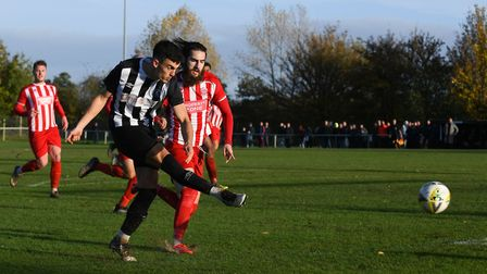 George Devine in action for Colney Heath against New Salamis in the FA Vase match at the Recreation Ground. Picture: JAMES...