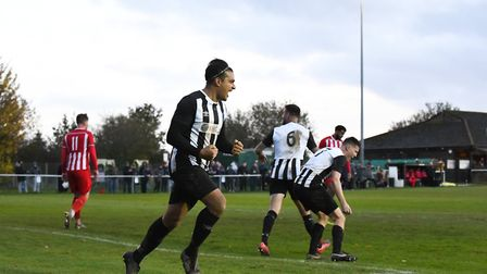 Yasin Boodhoo celebrates scoring for Colney Heath against New Salamis in the FA Vase match at the Recreation Ground.
