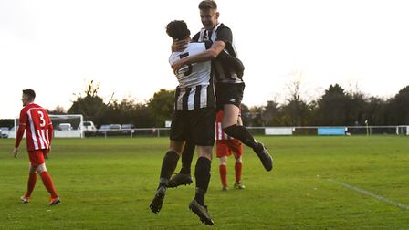 Colney Heath celebrate Yasin Boodhoo's goal against New Salamis in the FA Vase. Picture: JAMES LATTER