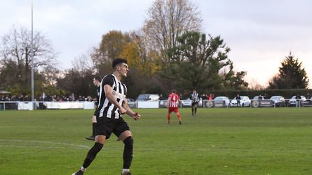 George Devine celebrates his goal for Colney Heath in the FA Vase match against New Salamis at the Recreation Ground.