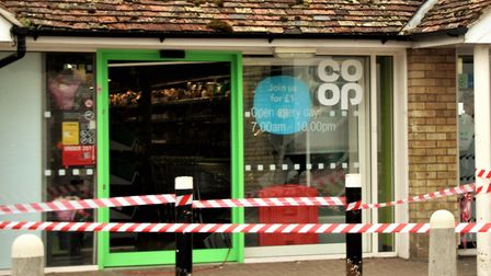 Melbourn's Co-op was broken into yesterday evening. Pictured is another break in from 2017. Picture: Clive Porter