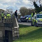 The scene of the collision in Six Hills Way this afternoon. Picture: Supplied