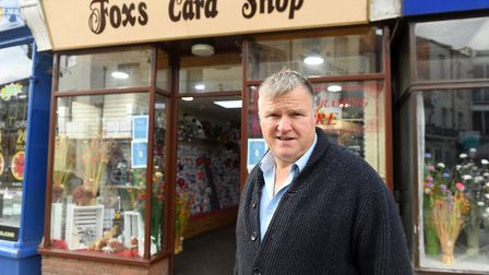 Shop Local feature. Julian Fox of Fox's Cards on the Market Place in Wisbech. Pictures: Ian Carter