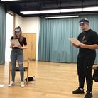 Sophie Craddock (left) and Dan Ellis (right) doing a socially distanced rehearsal as their characters Mel and Bobby respectiv...