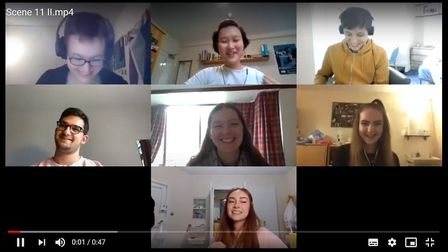 The cast and directors rehearsing dialogue over video-chat - Jenny Hay (assistant director and video editor), Louise Dai...