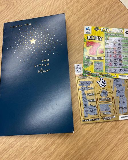 Cops win on scratch cards sent by person in Cambs custody for them to buy 'decent coffee'. Picture: CAMBS POLICE