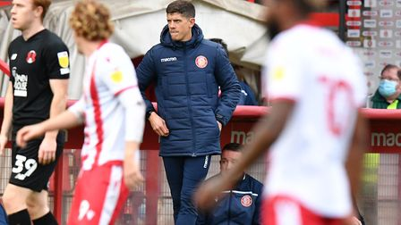 Manager Alex Revell during Stevenage's League Two game with Leyton Orient. Picture: DAVID LOVEDAY/TGS PHOTO