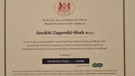 Anokhi Zagorski-Shah's British Citizen of the Year certificate. Each of the triplets received a certificate fromt he...