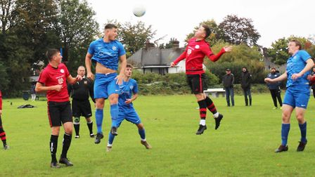 AFC London Road Res threaten the BWSC goal. Picture: BRIAN HUBBALL