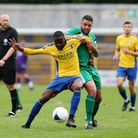 Solomon Nwabuokei got the only goal of the game for St Albans City against Hampton & Richmond Borough. Picture: DANNY LOO