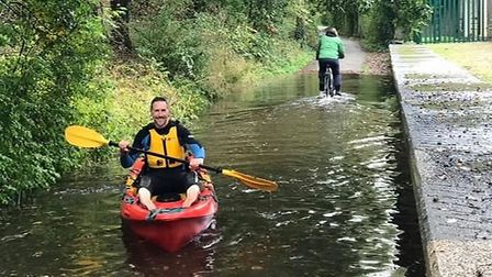 Runners doing the virtual 2020 London Marathon along the Alban Way found a new water hazard at Smallford. Picture: GRAHAM...