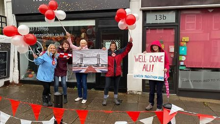 Supporters lined Ali's London Marathon route, donning landmarks from the capital. Picture: Abi Giles