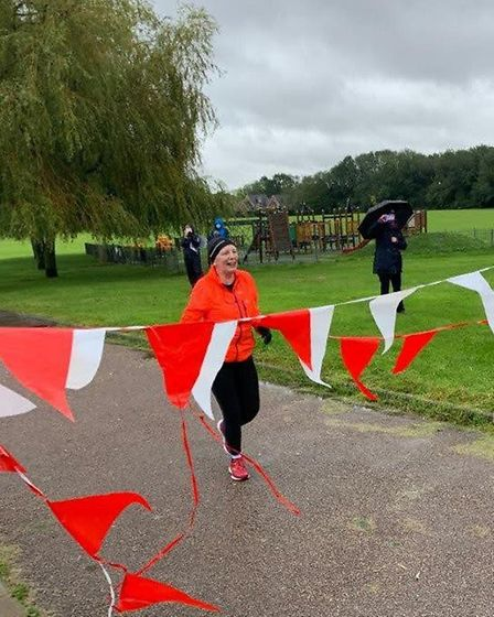 Ali crossed the finish line in Longarcres Park after five and a half hours. Picture: Abi Giles