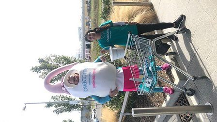 Mr Ovary and Stacey Kent collecting outside M&S Royston in September. Picture: supplied