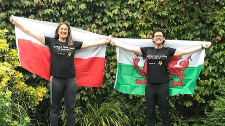 Royston solicitor Letty Gleister and her friend Laura (right) ran the equivaent of Cardiff to Warsaw to raise money for...