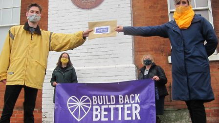 Representatives of Build Back Better St Albans present their letter to MP Daisy Cooper.