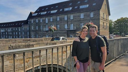 Lisa Leader with Partner Scott on Sunday on their fundraising walk PICTURE: Lisa Leader