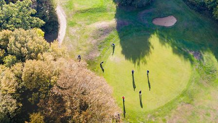 Drone's eye view of golfers at Batchwood - picture by Robin Hamman - http://stradigal.com