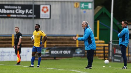 Manager Ian Allinson was pleased with St Albans City's progression in the FA Cup against Mickleover. Picture: DANNY LOO
