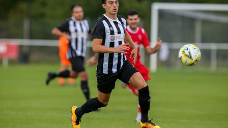 George Devine got his fifth of the season for Colney Heath in their draw with Oxhey Jets. Picture: DANNY LOO