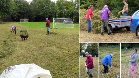 Residents living near Therfield Heath helped restore Sun Hill Common by clearing away cut grass over the weekend. Picture:...