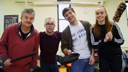Norwich Theatre Royal 2019 panto rehearsals for Cinderella - Richard Gauntlett, left, Fairy Godmother, with, from second...