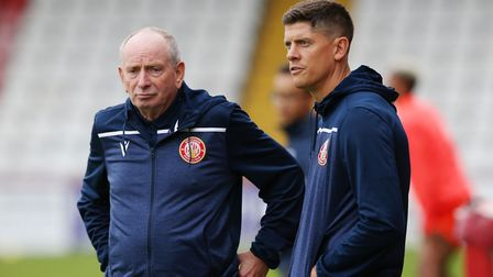 Stevenage manager Alex Revell (right) with Lennie Lawrence. Picture: DANNY LOO