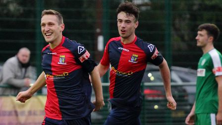 Sam Gomersall (left) scored for St Neots Town away to Bedworth United in the FA Trophy. Picture: DAVID RICHARDSON/RICH IN...