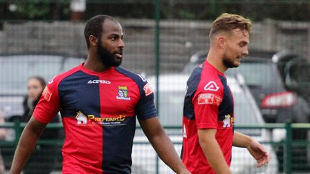 Arel Amu (left) scored for St Neots Town away to Bedworth United in the FA Trophy. Picture: DAVID RICHARDSON/RICH IN VIDEO