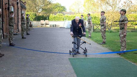 Captain Sir Tom Moore at the finishing line of his fundraising charity walk. Picture: The Captain Tom Foundation