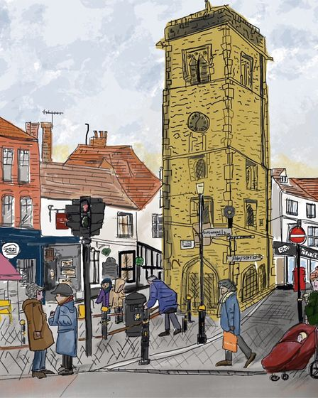 St Albans Clock Tower by Gill Owen, who organised the calendar, is the artwork for the month of November. Artwork: Gill Owen