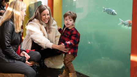 Left to right: Kate Gregory, Penny Joyner-Platt and her son Freddie at Paradise Wildlife Park to launch Little Ankle BIters H...