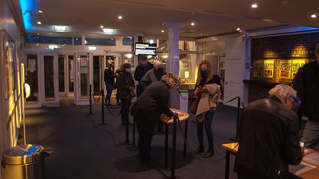The Abbey Theatre foyer in St Albans with COVID-19 safety measures in place. Picture: Nick Clarke