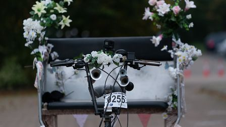 The rickshaw had been donated for Heidi to use by a couple, who asked to remain anonymous. Picture: Martin Wooton
