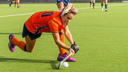 St Albans Hockey Club's first team lost narrowly to Hampstead & Westminster. Picture: WWW.CHRISHOBSONWEDDINGS.PHOTOS